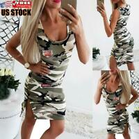 US Women's Sexy Sleeveless Slim Fit Bodycon Dress Camo Party Mini Dress Cocktail