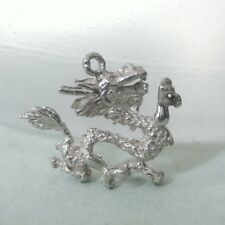 Large detailed DRAGON - Solid 925 sterling silver charm pendant