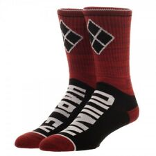 DC Comics Harley Quinn Vertical Text Crew Socks NEW Licensed Authentic