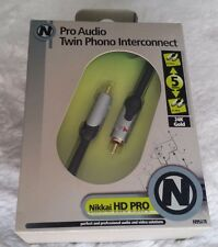 Nikkai Maplin PRO AUDIO Doppio RCA Phono Cavo Di Interconnessione 5 M 24k GOLD