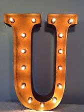 """New Rustic Metal Letter U Light Marquee: Sign Wall Decoration 24"""" Vintage"""