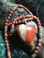 "NATURAL STONE NECKLACE  RED BRECCIATED JASPER WITH QUARTZ  22""- 26""  6 MM BEADS"