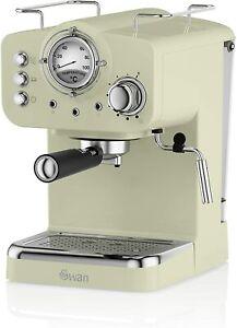 Swan Retro Pump Espresso Coffee Maker Machine 15 Bars Green Barista Latte Mocha