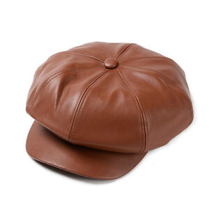 Unisex Leather Newsboy Ivy Cap Cabbie Driving Flat Gatsby Beret Hat Paperboy Cap