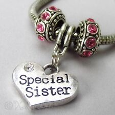 Special Sister Heart Charm And Birthstone European Beads For Charm Bracelets