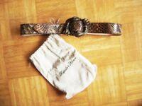 @ Reptile´s House @ Gürtel braun Python Gürtelschnalle Schlange TW 90 Size M