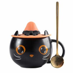 2021 Hallowmas Starbucks Cute Black Cat Coffee Cup W/ Witch Lid Water Mug New