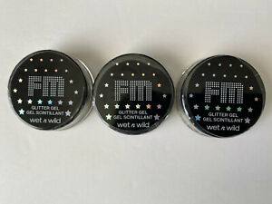 NEW! Lot of 3 Wet n Wild Glitter Gel Body Makeup (2 Gold, 1 Silver)