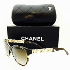 acb15bd555 New Chanel Sunglasses 5215 Q 1498 Butterfly Chain Tortoise Gold 57•17•135