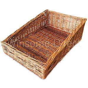 Large Woven Wicker Cane Bamboo Basket Breakfast Fruit Bread Roll Display Tray