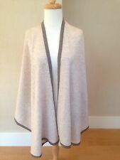 CASHMERE fine Wool BEIGE SAND Open Front Poncho Cape One Size NWT