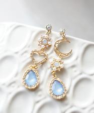 Baby Blue Dangle Korean Earrings, Kpop Earrings, Blackpink Jennie Solo Earrings