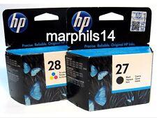 HP27, HP28 Nero & Colore Cartucce di inchiostro C8727A/C8728A GENUINE ORIGINALE!!!