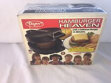NEW VTG Dazey Hamburger Heaven Indoor Grill Sandwich Burger Maker Model 25400 F