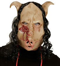 Butcher Pig Evil Horror Mask with Hair Texas Halloween Fancy Dress Costume