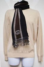 Gucci écharpe authentique unisexe 100% laine rayé homme noir marron taupe