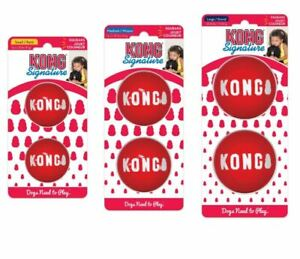 KONG SIGNATURE Balls Dog Toy Squeaky Small, Medium or Large Fetch Chase 2 Pack