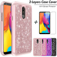 For LG Stylo 5/Stylo 5+ Plus Shockproof Bling Hybrid Case Cover+Screen Protector