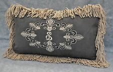Personalized Pillow Embroidered on Gray Faux Suede Fabric 20x12 trim bullion