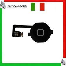 TASTO HOME Nero + FLAT FLEX Circuito Connettore Pulsante Centrale IPHONE 4 4G
