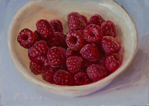 Original daily painting a day realism still life raspberries 7x5 Y Wang Fine Art