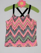 OP Hearts & Animal Print Zigzag Striped Swim Suit Top, 6-6x