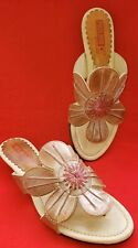 Pikolinos Women's Slide Sandals Size 7.5M Color Taupe All Leather Large Flower