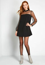 BB Dakota In the Mesh Crepe Shift Dress Fits S Modcloth We Mesh Well Mini Black