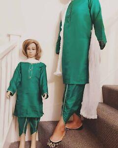 Girls pakistani indian mehndi mother daughter green matching shalwar kameez
