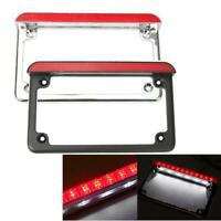 Motorcycle Aluminum License Plate Frame With LED Light Brake Taillight Universal
