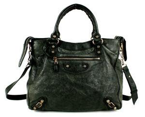 BALENCIAGA $1,985 Black Aged Lambskin VELO City Satchel Tote Bag RGHW