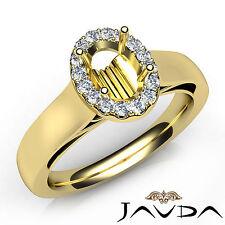 Oval Diamond Semi Mount Engagement Halo Pave Setting Ring 14k Yellow Gold 0.2Ct