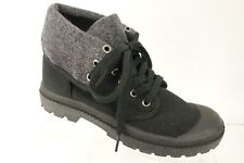 NEW ROCKET DOG Ankle Boot Shoes Women's 7.5 M Black Canvas Gray Lining
