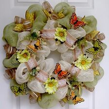 Beautiful Butterflies, Burlap And Lace Deco Mesh Spring Or Summer Wreath