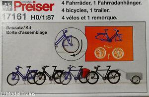 Preiser HO #17161 Accessories -- Bicycles w/Trailer Kit pkg(4)