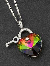 Genuine Swarovski Necklace Rainbow Heart & Key By Equilibrium Jewellery