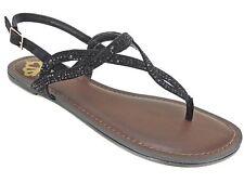 Fergalicious Women's Sylvia T-Strap Flat Sandals Black Size 6 M