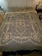 Antique/ Vintage Bedspread Net Embroidery Tambour Lace Twin Sz Bed Cover