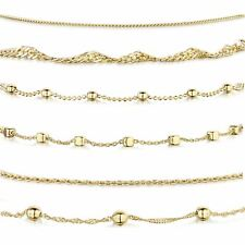 Amberta Real Gold Plated on 925 Sterling Silver Adjustable Anklets for Women