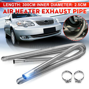 1x 300cm Silver Stainless Exhaust Pipe Hose Parking Air Heater Tank Diesel Vent
