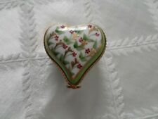 Limoges Trinket Box - hand painted heart signed- Flower Clasp Flowers