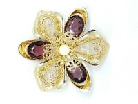 Pcraft Purple Glass Rhinestone Faux Pearl Large Gold Tone Filigree Flower Brooch