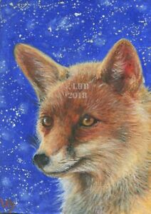 LHBissell ORIGINAL OIL PAINTING ACEO MINIATURE Animal Magic: Fox