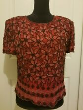 Adrianna Papell Boutique  RED & BLACK  Beaded Silk Evening Blouse Top -Large-C13