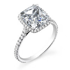 1.70ctw Natural Princess Cut Halo Pave Diamond Engagement Ring - GIA Certified