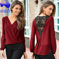 Women V-neck Fashion Tops Long Sleeve Shirt Casual Floral Blouse Loose T- shirts