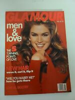 Vintage GLAMOUR MAGAZINE February 1992 Fashion - CINDY CRAWFORD COVER EUC