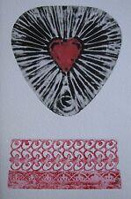 "JENNY PETERSON AUSTRALIAN WOODBLOCK ""RED HEART DESIGN"" C 2000"