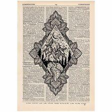 Diamond Moonlight Mandala Mountain Dictionary Print OOAK, Art,Unique, Gift,