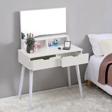 Simple Designer 2 Drawers Dressing Table Bedroom Vanity Makeup Desk With Mirror